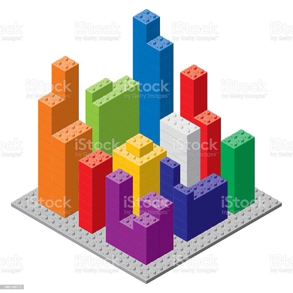 Building block city. vector art illustration