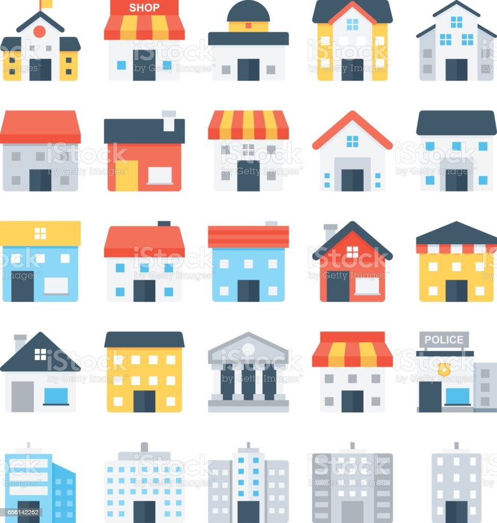 Building Colored Vector Icons 6 vector art illustration