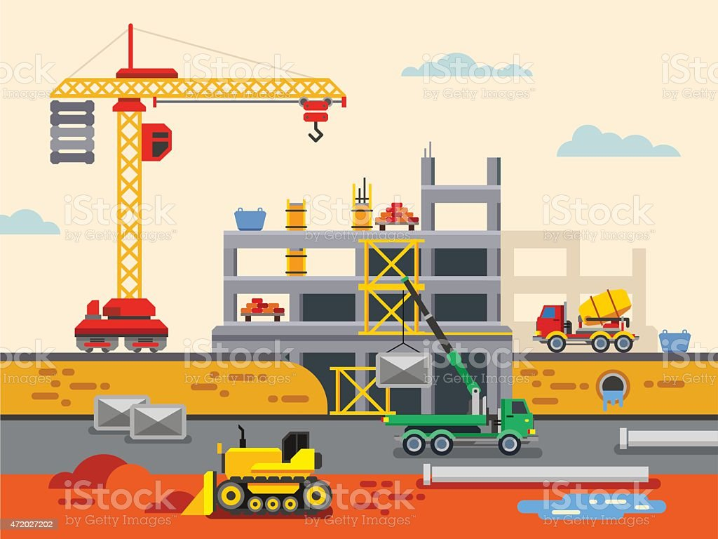 Building Construction Flat Design Vector Concept Illustration vector art illustration