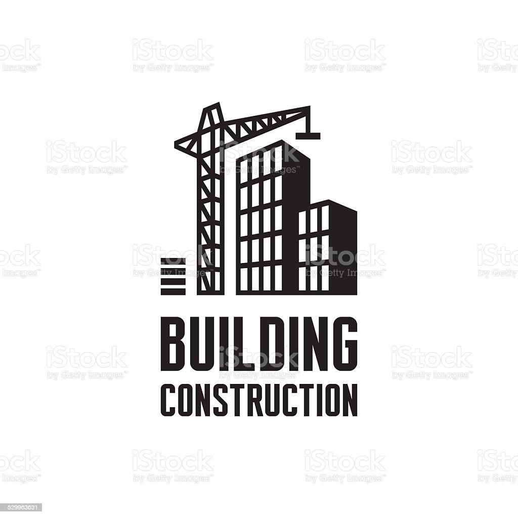 Building construction logo illustration. Crane and building construction illustration concept. vector art illustration
