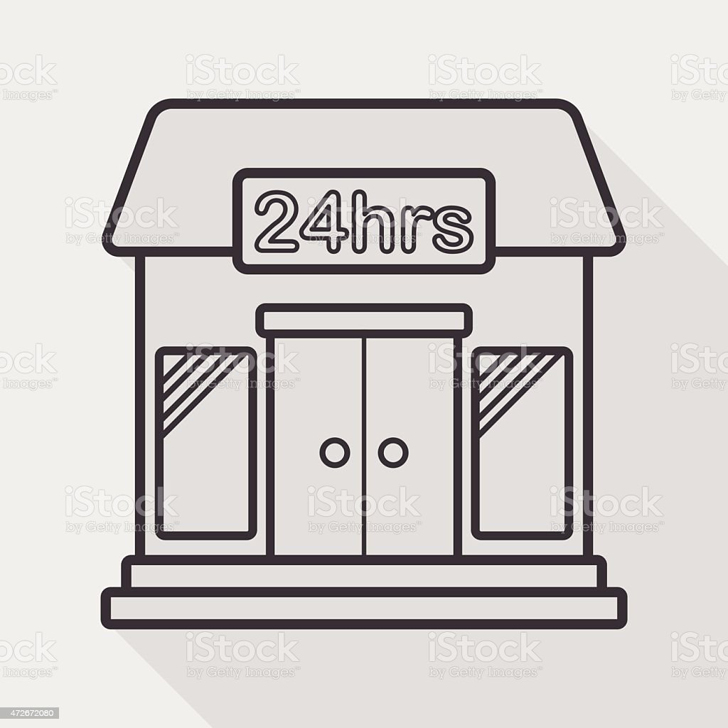 Building convenient store flat icon with long shadow, line icon vector art illustration