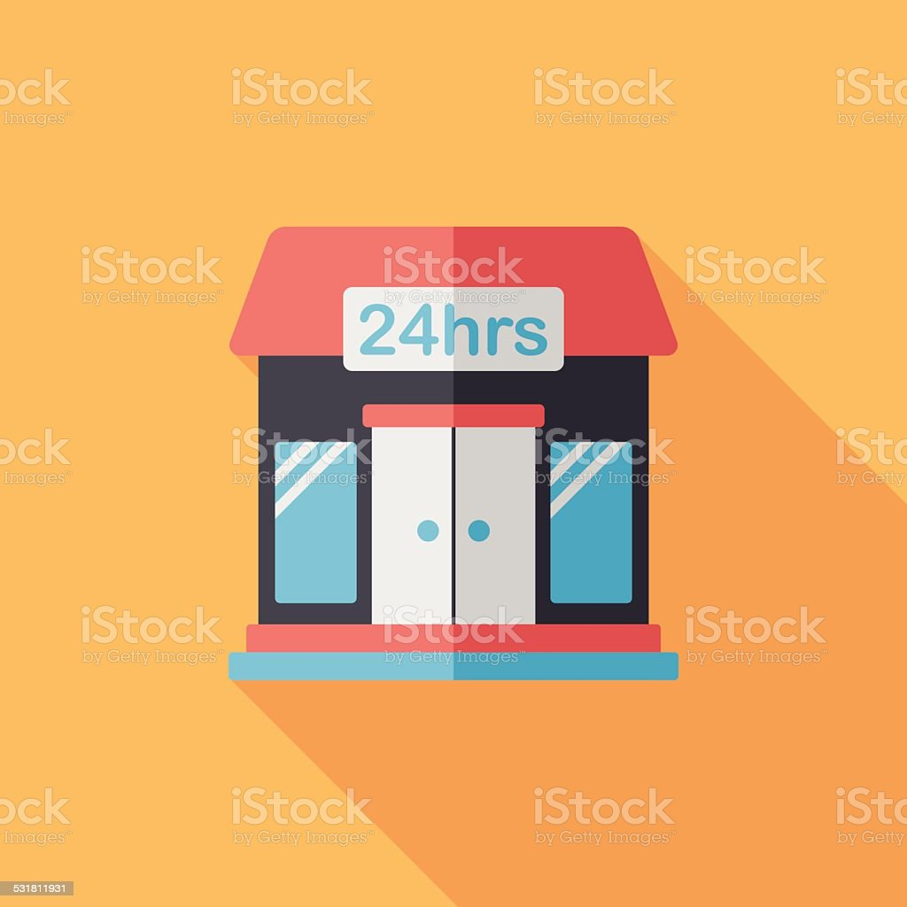 Building convenient store flat icon with long shadow,eps10 vector art illustration