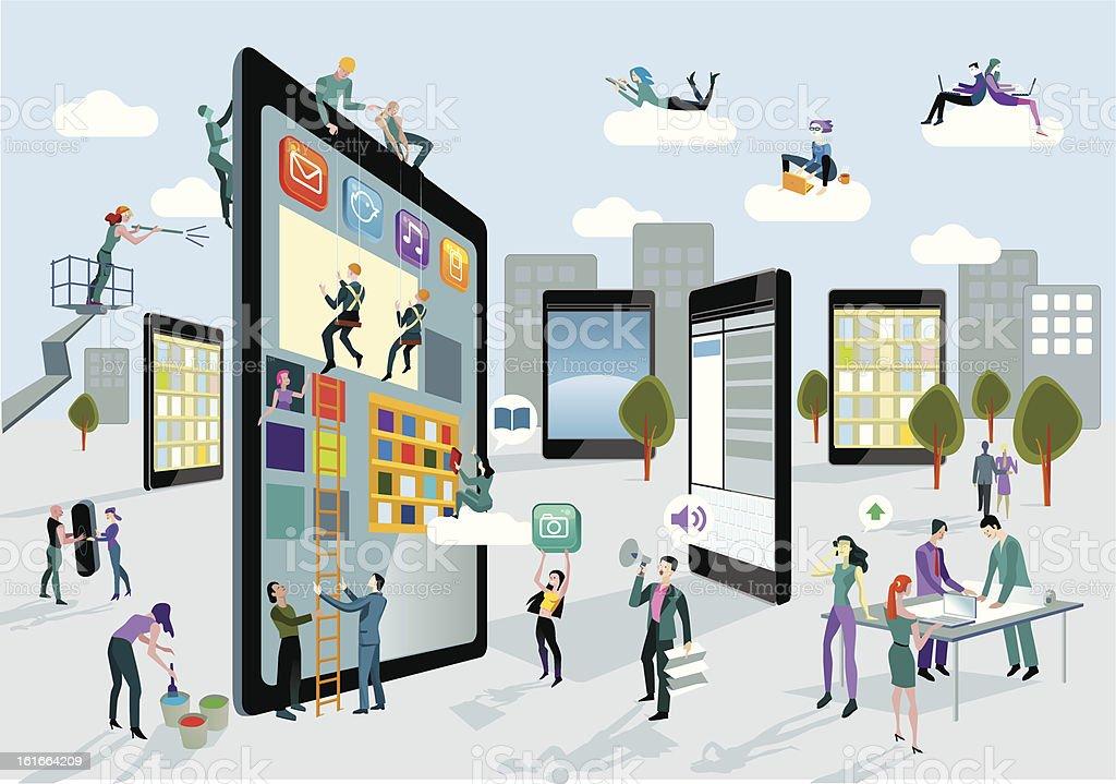 Building Digital Tablets Horizontal vector art illustration