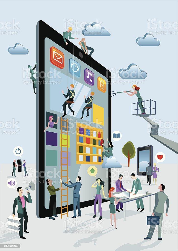 Building Digital Tablets Vertical royalty-free stock vector art