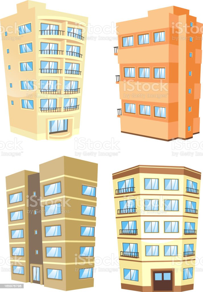 Building edifice tower apartment condo structure home house set 5 royalty-free stock vector art