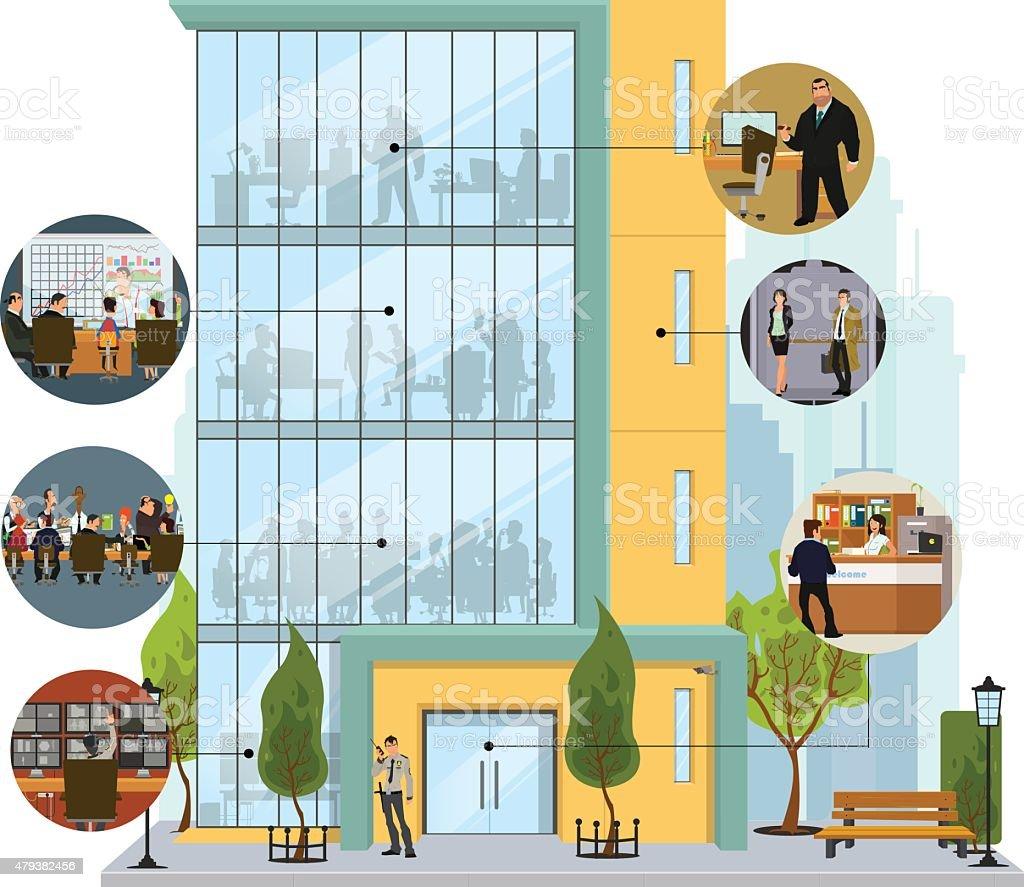 building facade vector art illustration