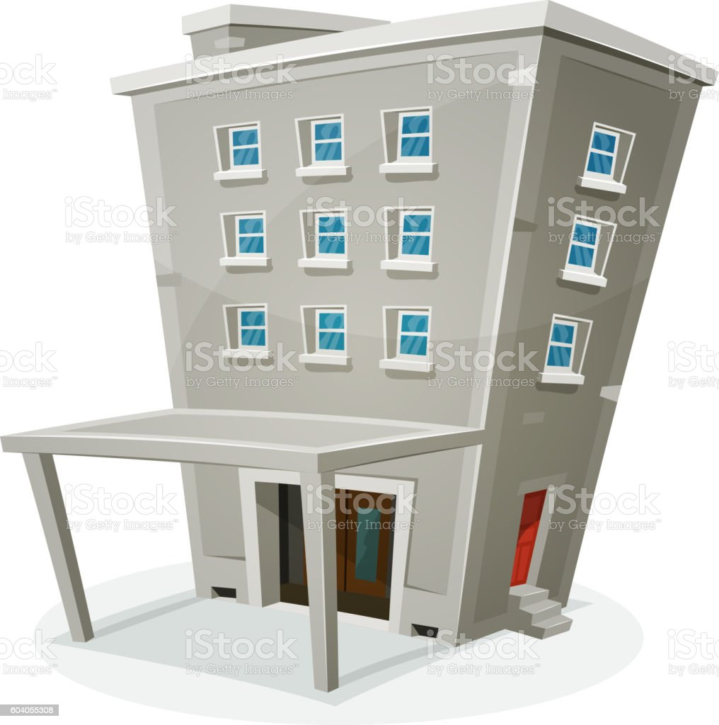 Building House With Offices Or Apartments vector art illustration