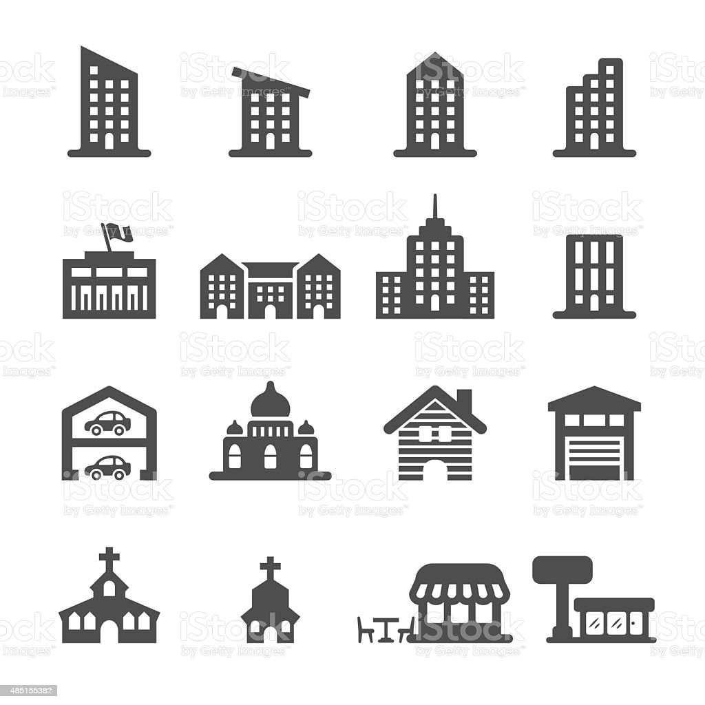 building icon set 3, vector eps10 vector art illustration