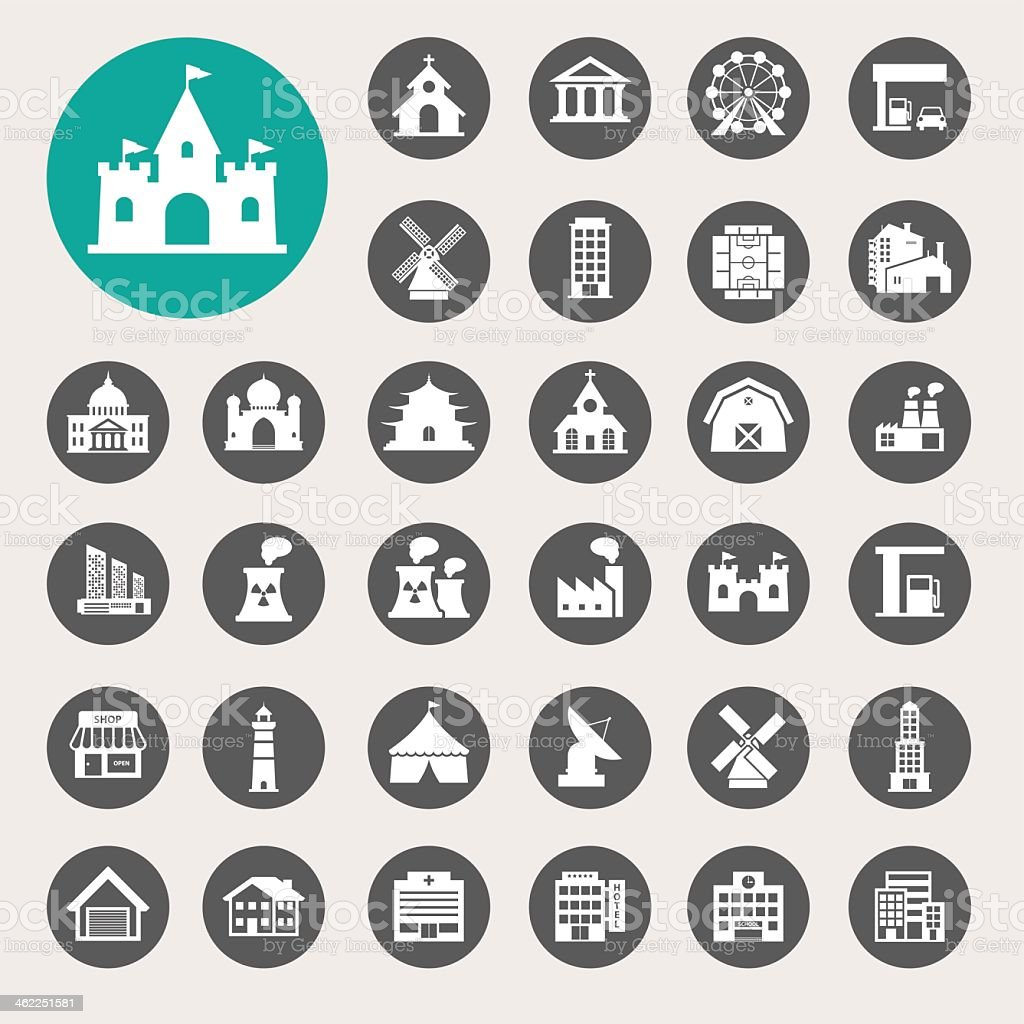 Building icon set in circular grey buttons and one in aqua vector art illustration