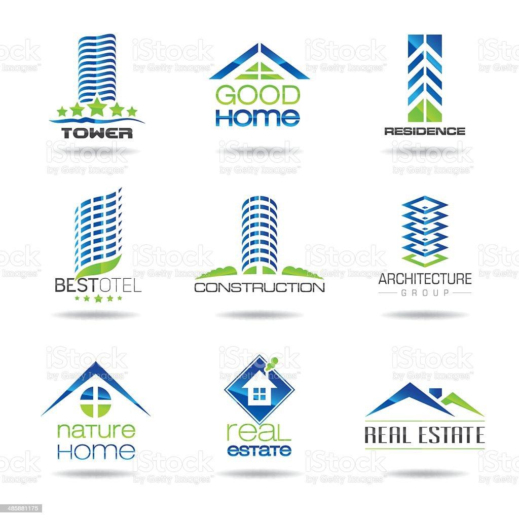 Building icon set vector art illustration