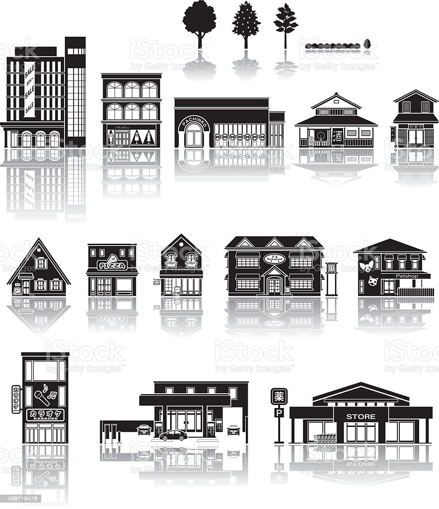 Building icon / silhouette   vector art illustration