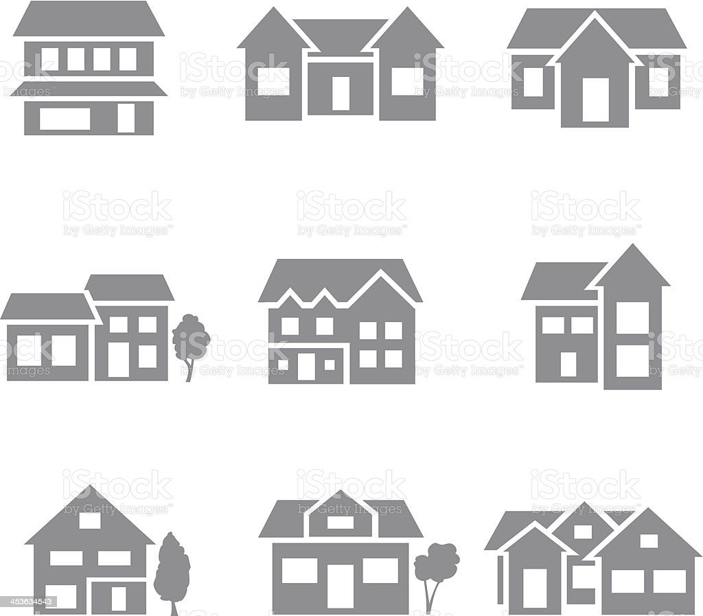 Building icons - gray vector art illustration