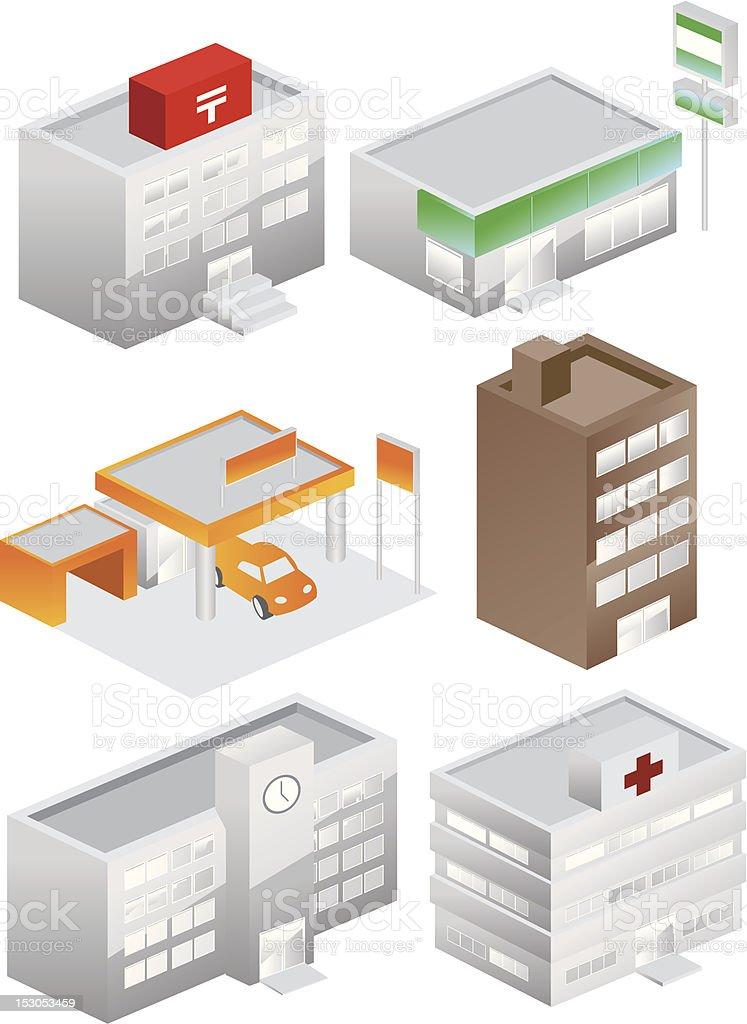 building icons set color vector art illustration