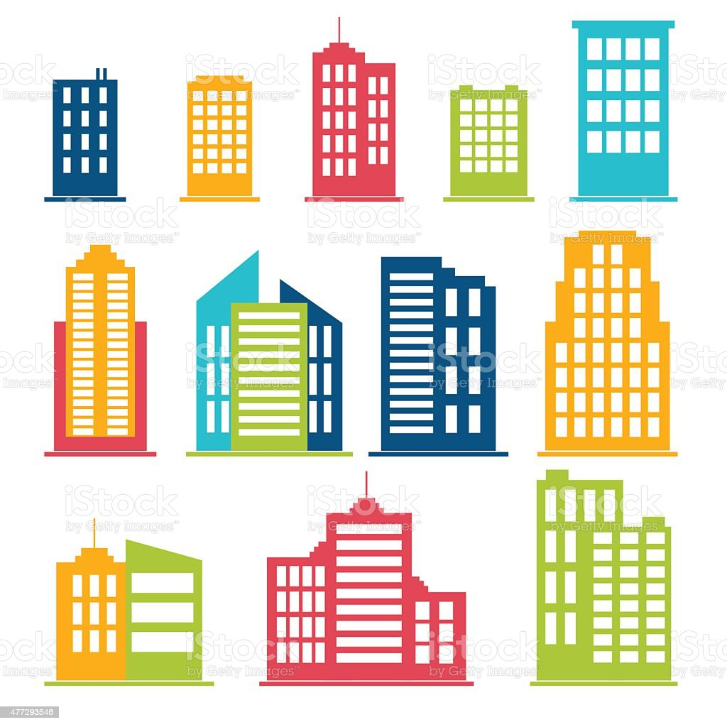 Building icons set in color vector art illustration