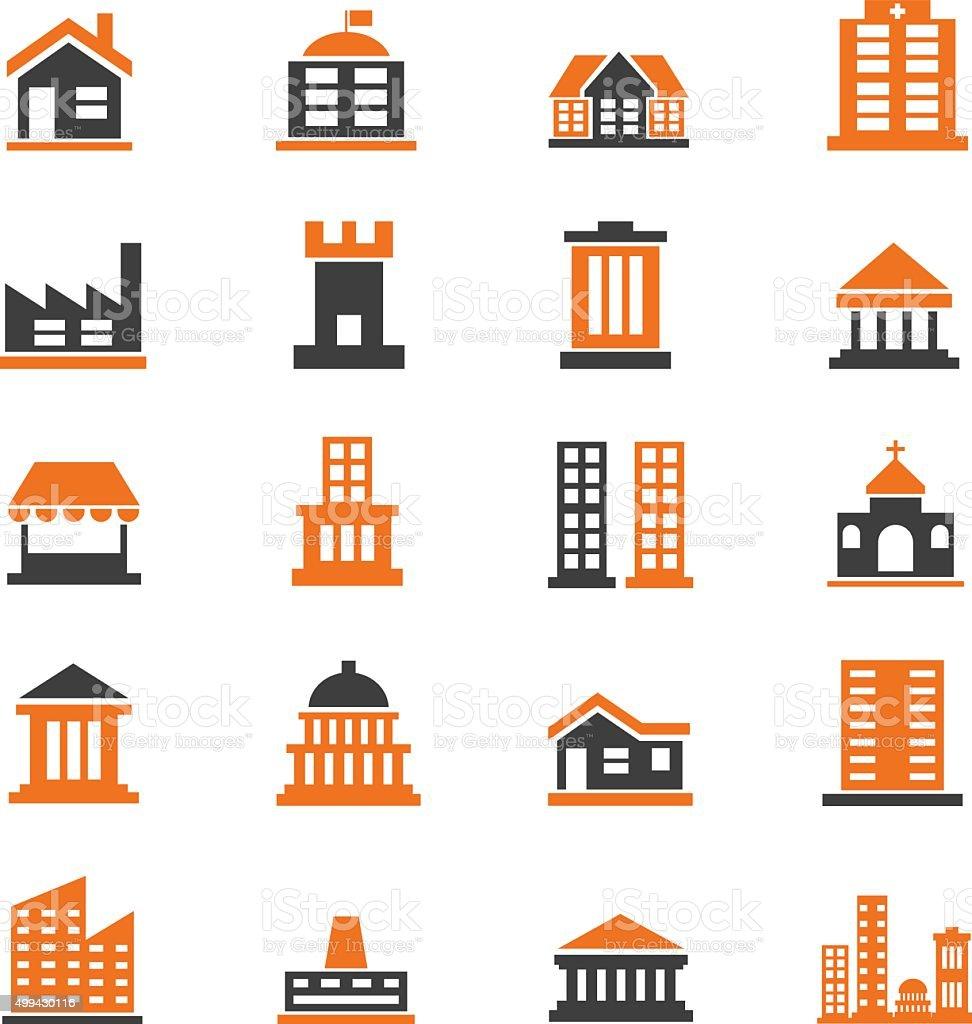 Building icons set vector art illustration