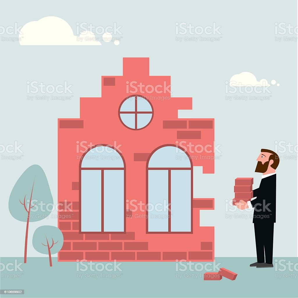 Building investment vector art illustration