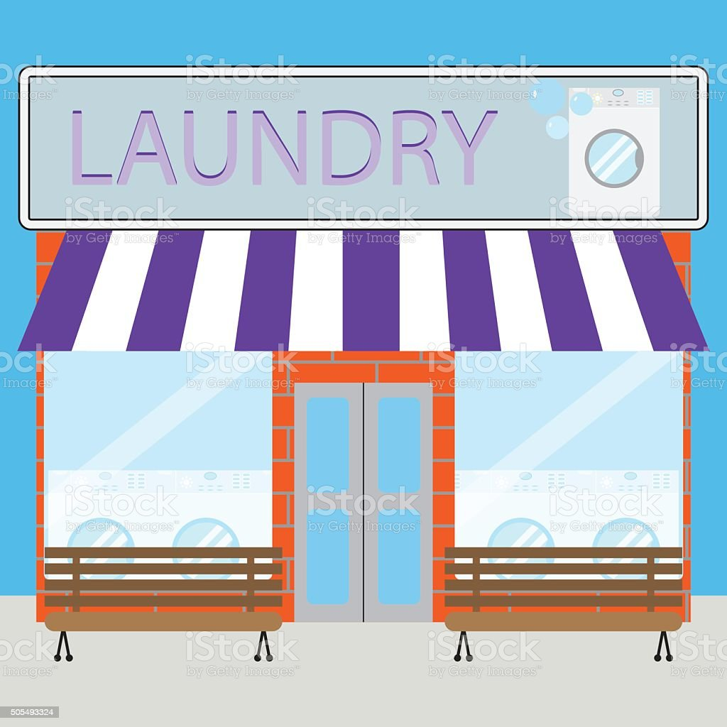 Building laundry flat design vector art illustration