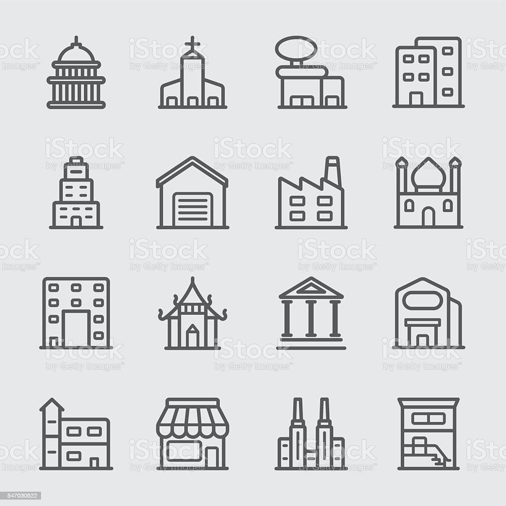 Building line icon vector art illustration