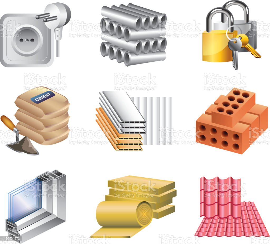 building materials icons set royalty-free stock vector art