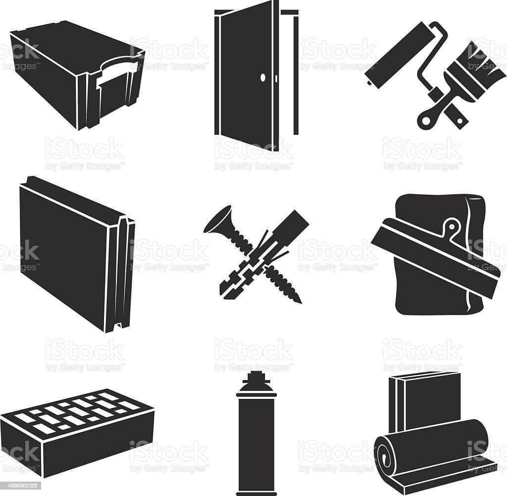 Building materials icons vector art illustration