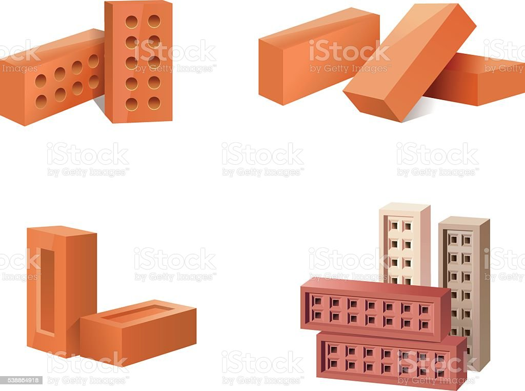 Building Materials Icons vector art illustration