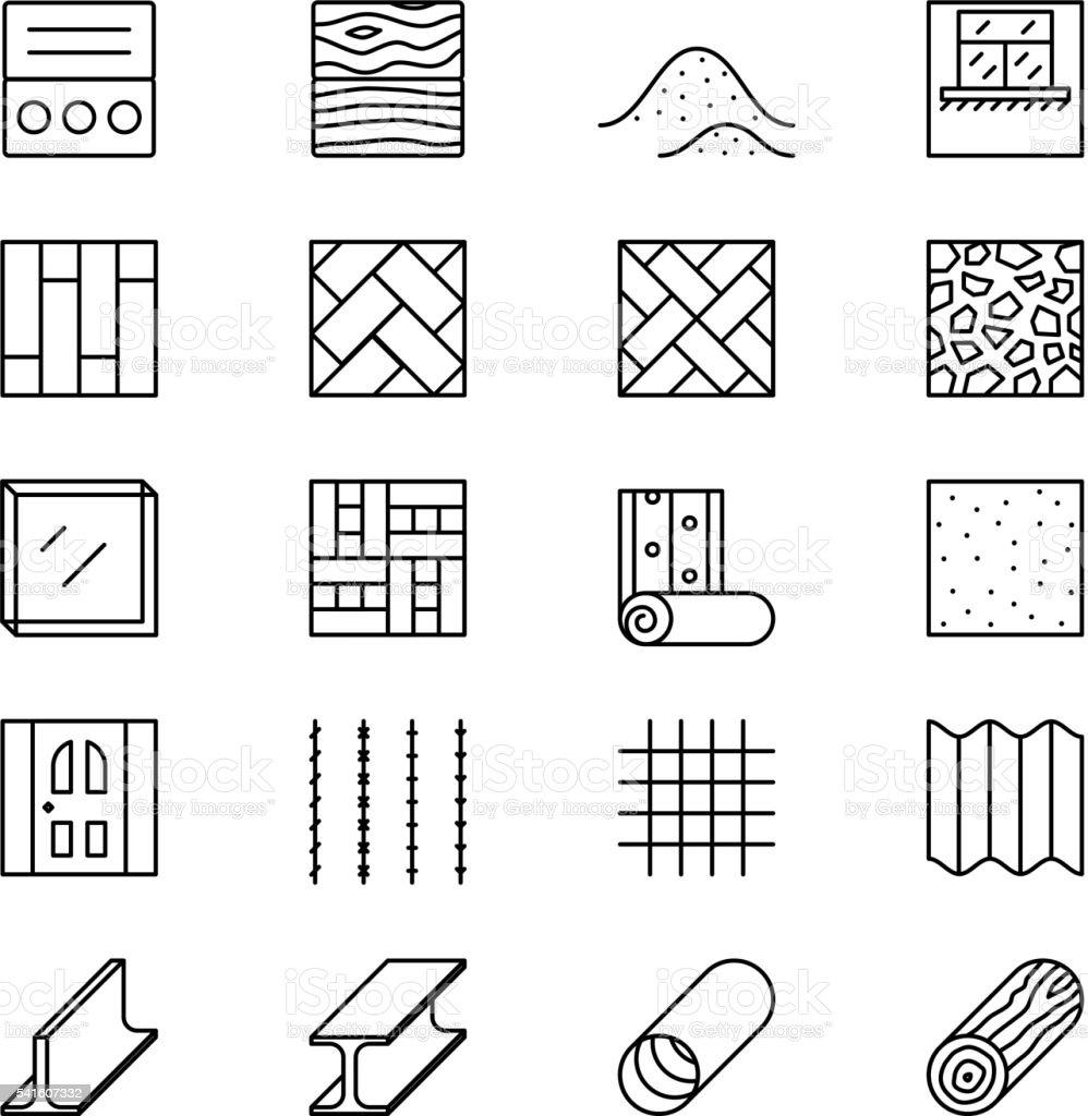 Building materials line vector icons vector art illustration
