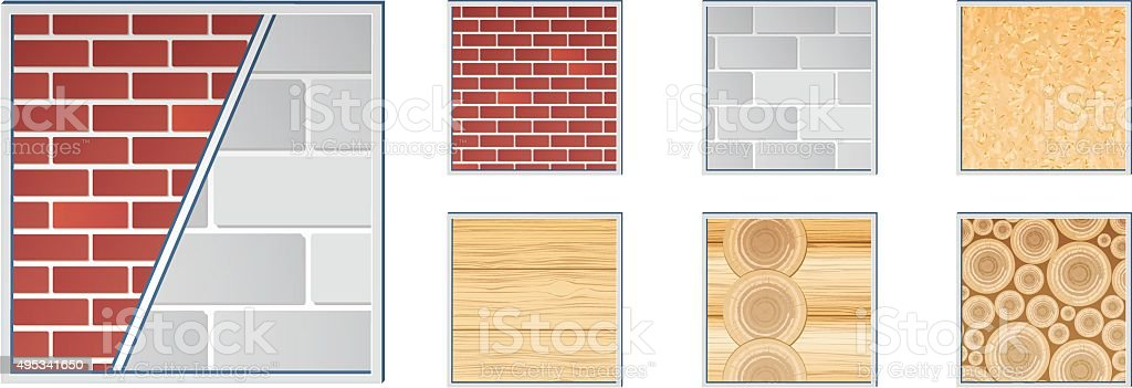 Building materials textures - Illustration vector art illustration