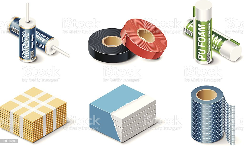 Building products icons. Insulation royalty-free stock vector art