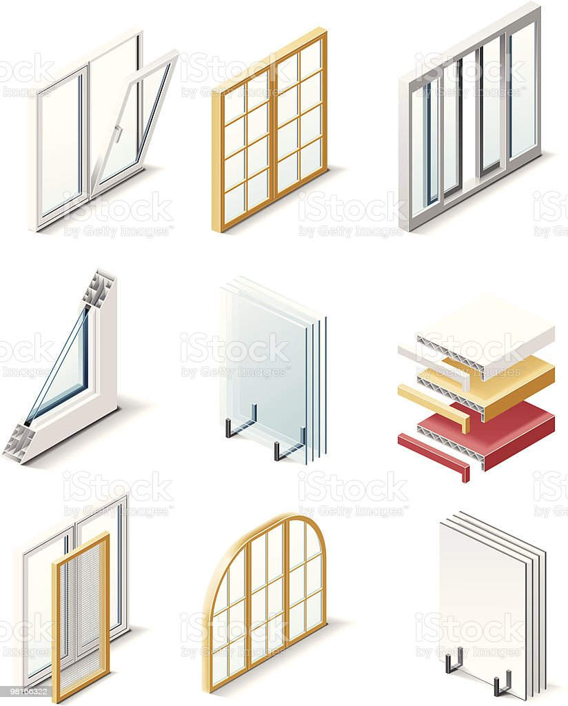 Building products icons. Windows vector art illustration