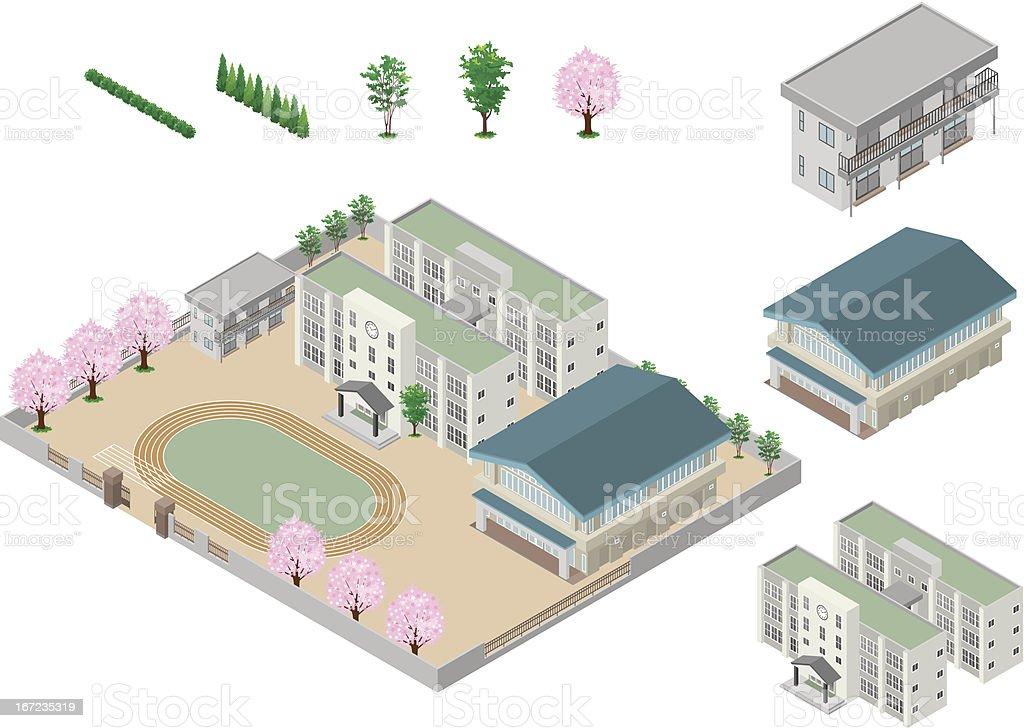 Building / School vector art illustration