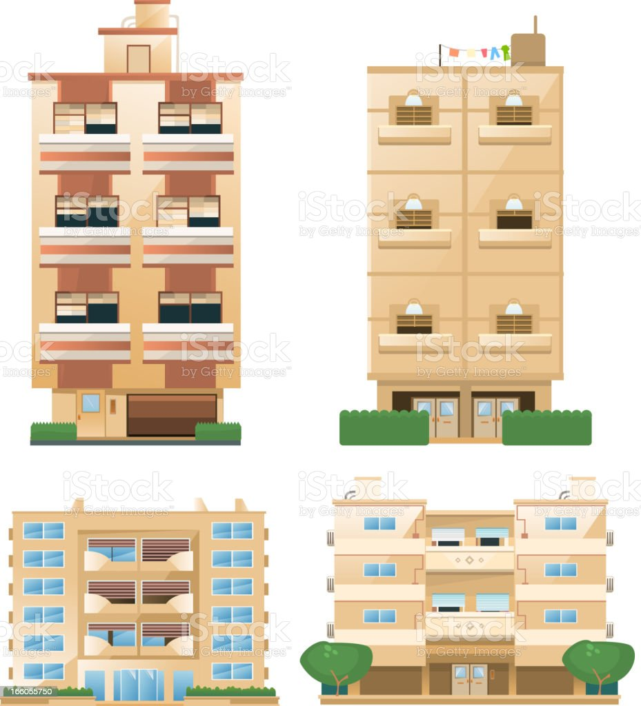 Building set of housebuilding architectural construction apartment houses royalty-free stock vector art