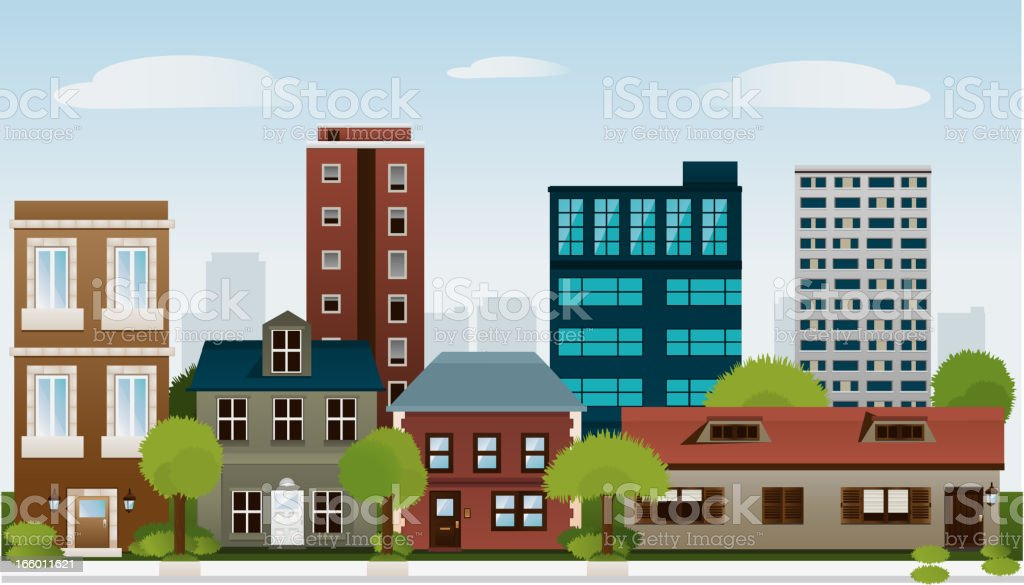 Building set of houses architectural construction outbuilding apartment house royalty-free stock vector art