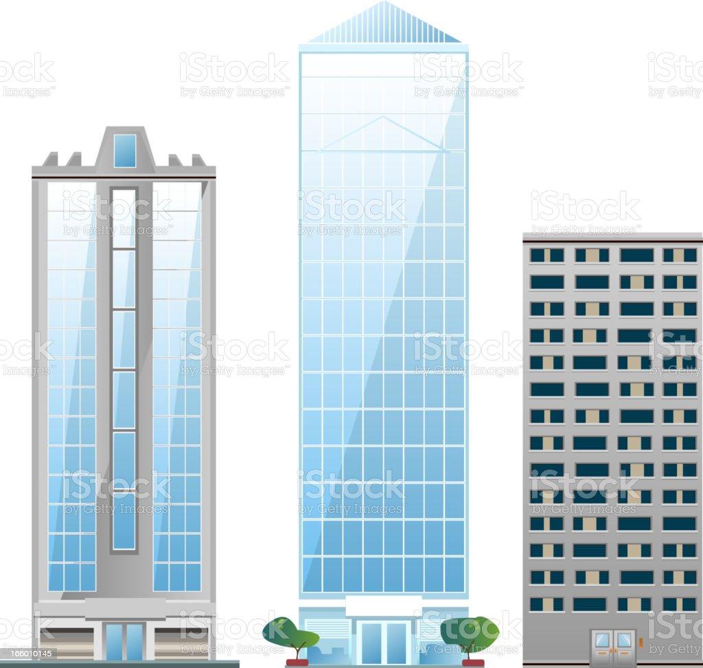 Building set of skycraper architectural construction outbuilding apartment house vector art illustration