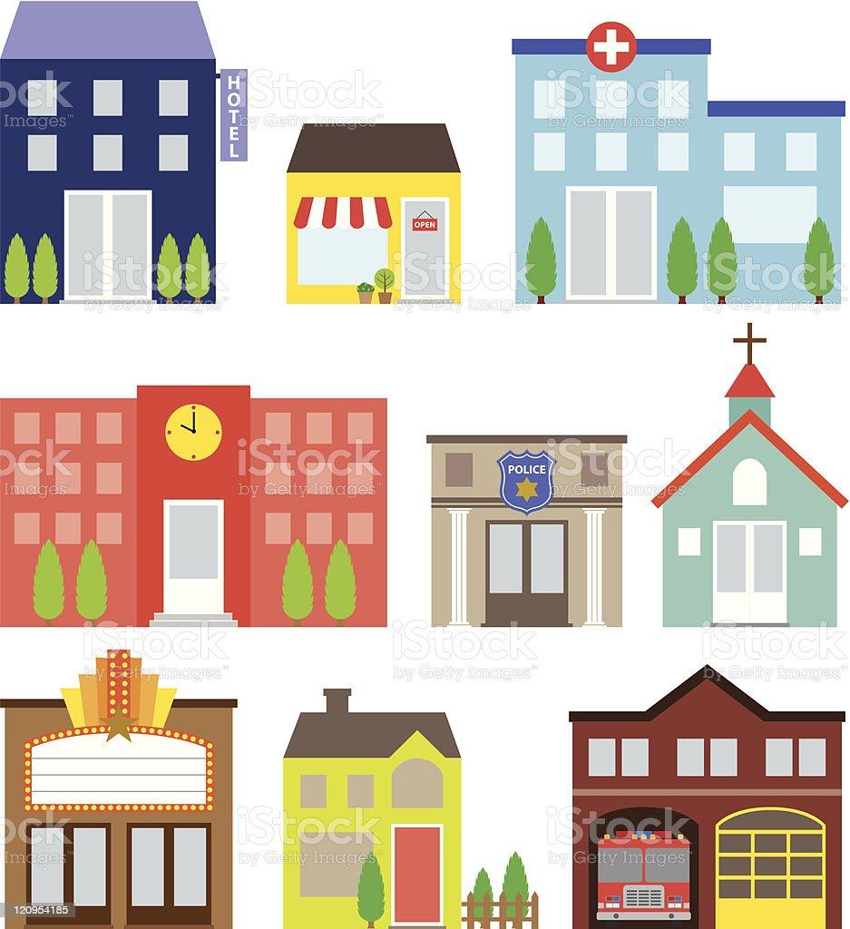 Building Set vector art illustration