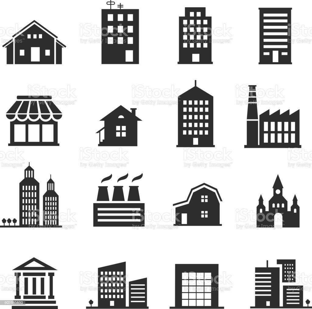Building  shop icon set vector art illustration