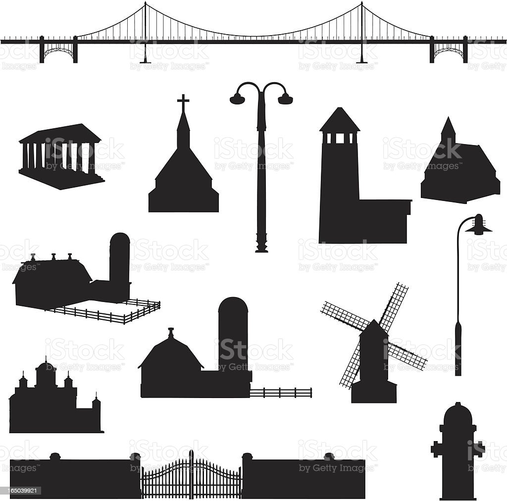 Building Silhouette Collection (vector+jpg) vector art illustration