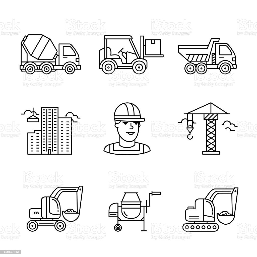 Building site engineering and machinery vector art illustration