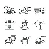 Building site engineering and machinery