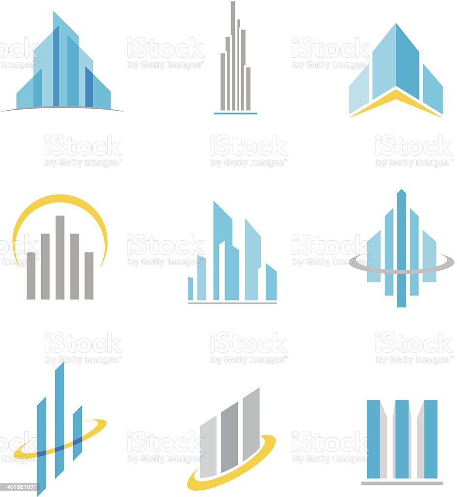 Building symbol and icon vector art illustration