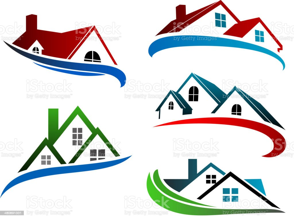 Building symbols with home roofs vector art illustration