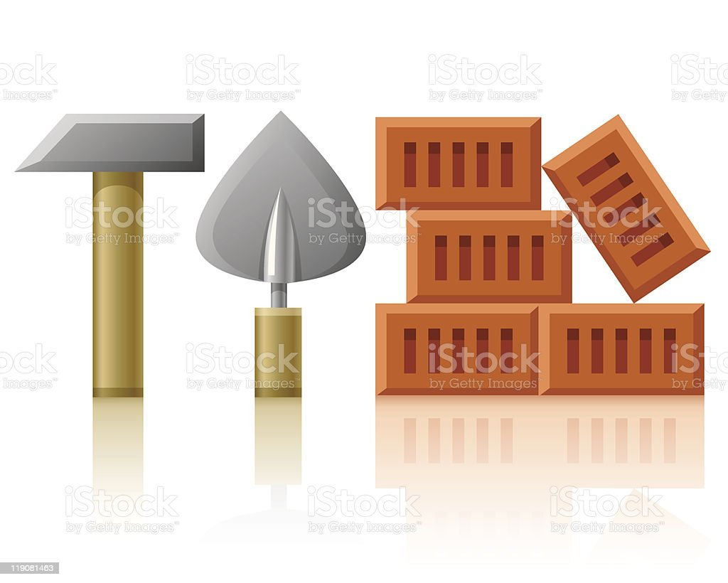 building tools hammer trowel and bricks royalty-free stock vector art