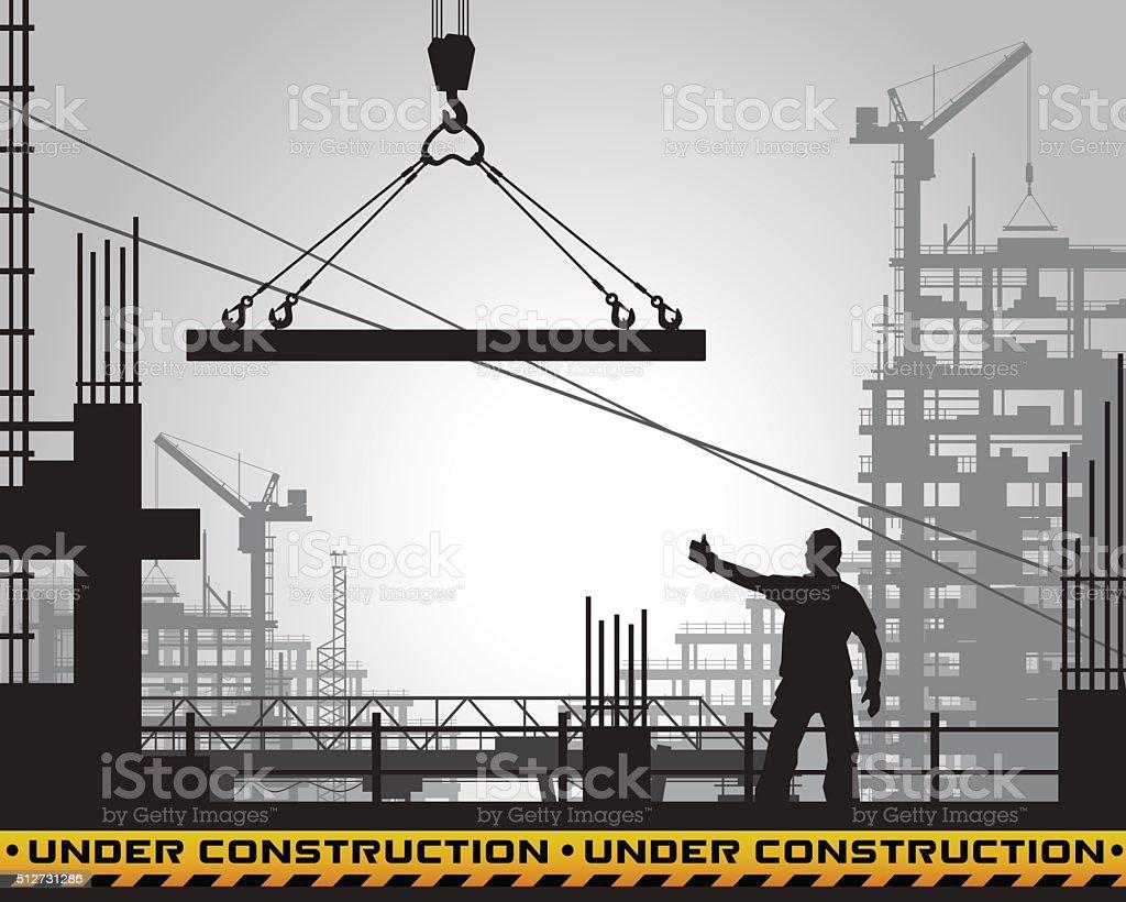 building under construction silhouette. vector art illustration