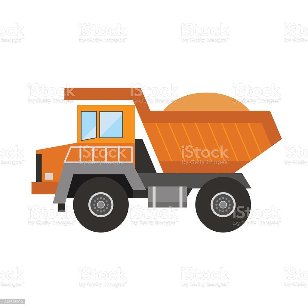 Building under construction tripper truck machine vector art illustration