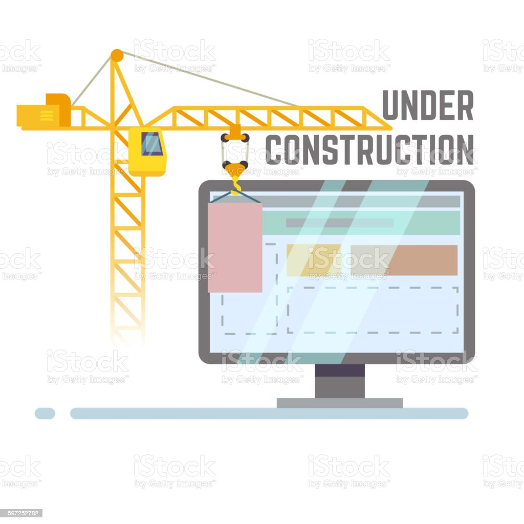 Building under construction web site vector background vector art illustration