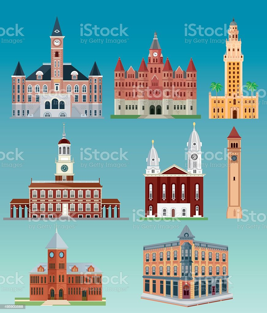 USA Building vector art illustration