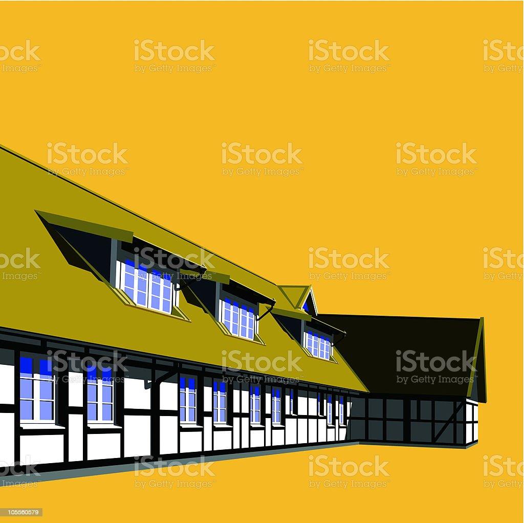 building with attic vector art illustration