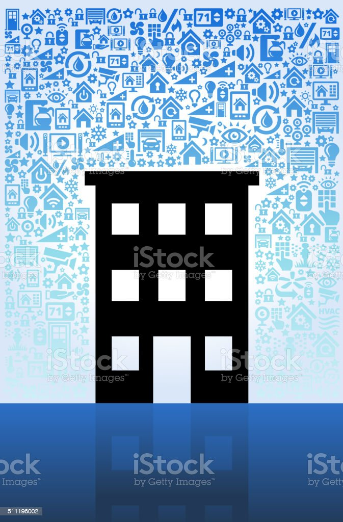 Building with Water Tower Home Automation and Security Vector Background vector art illustration