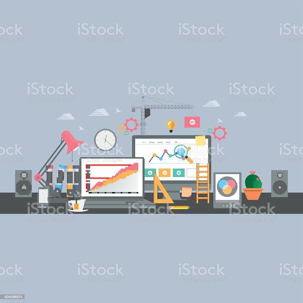 Building/Designing a website or application. Flat style vector design vector art illustration