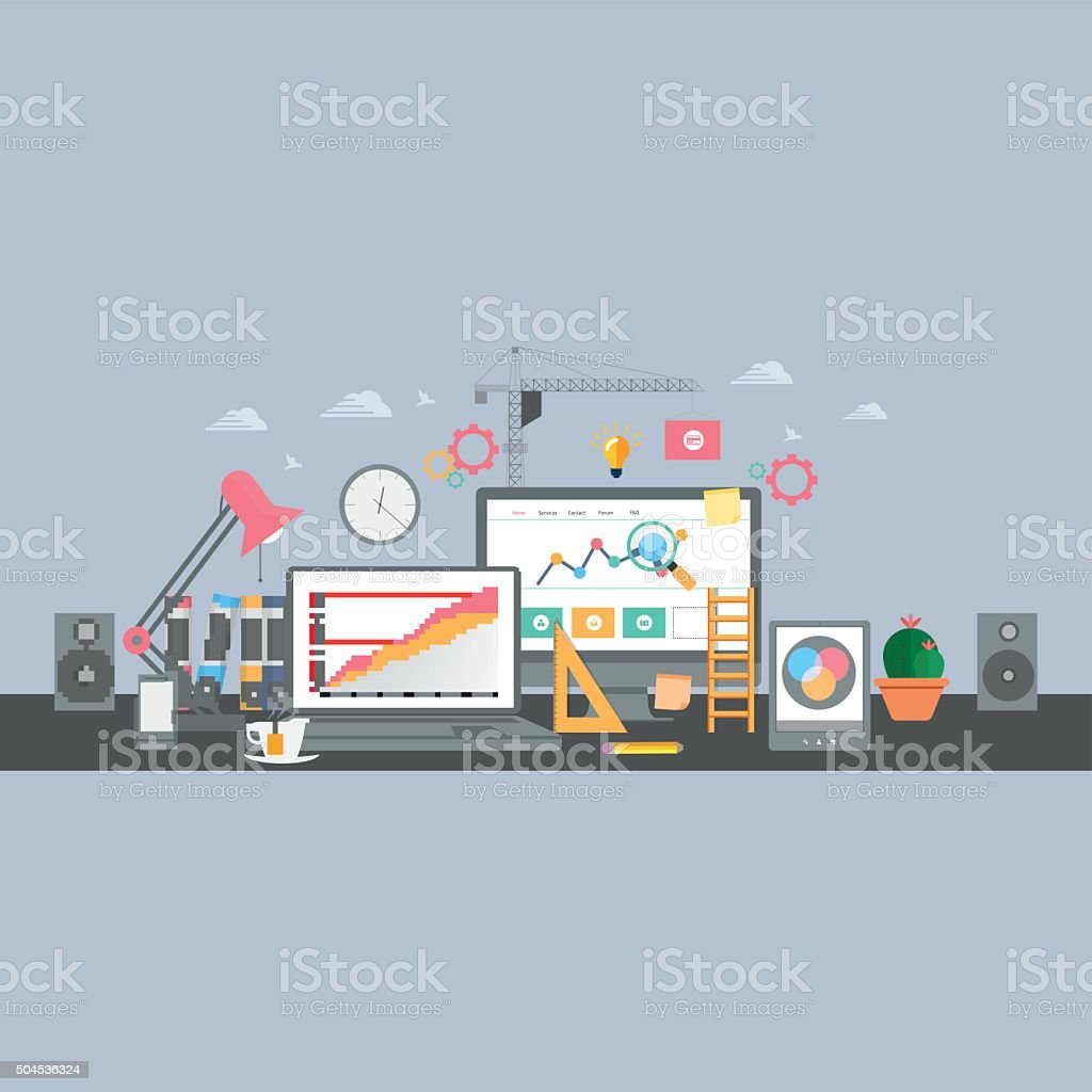 Building/Designing a website or application. Flat style vector design vector art illustration