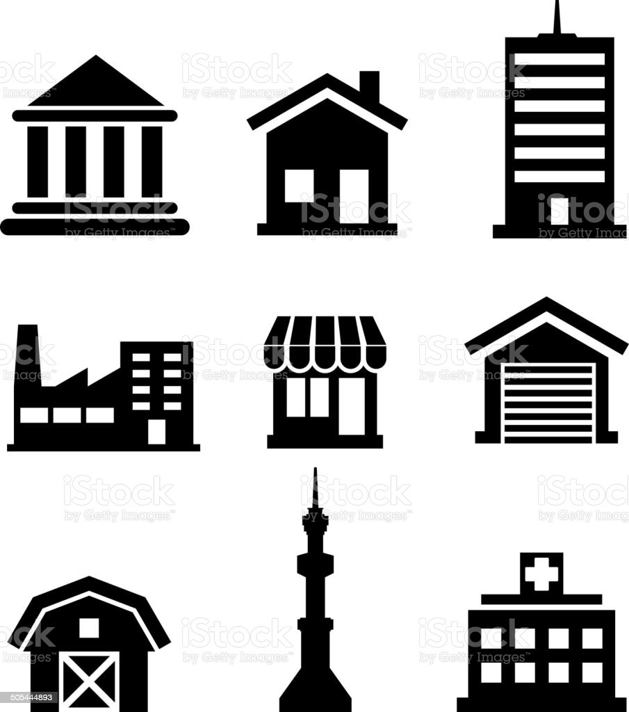 Buildings and architectural icons vector art illustration